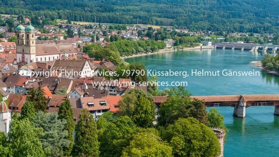 Luftbild Bad Säckingen Münster & Holzbrücke FS P1050641